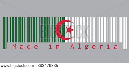 Barcode Set The Color Of Algeria Flag, Green And White  With A Red Star And Crescent On Grey Backgro