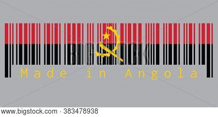 Barcode Set The Color Of Angola Flag, Red And Black With The Machete And Gear Emblem On Grey Backgro