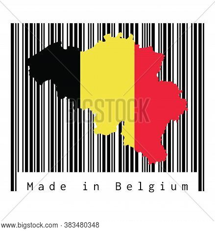 Map Outline And Flag Of Belgium On Black Barcode With White Background, Text: Made In Belgium. Conce