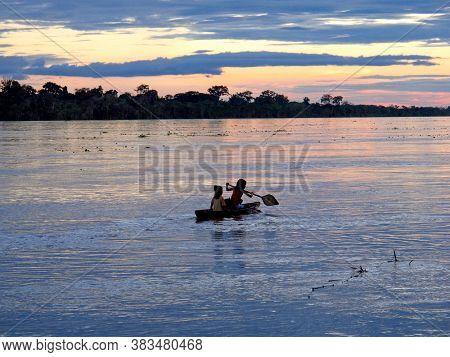 Amazon River / Peru - 12 May 2011: The Boat In Amazon River In Peru, South America