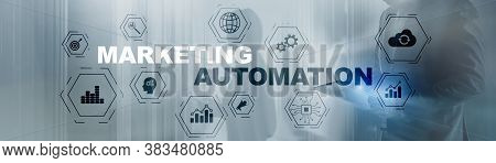 Business Marketing Automation Concept. Technology Process System Finance On Banner.