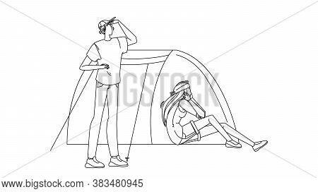 Campsite Tent And Tourists Man And Woman Vector