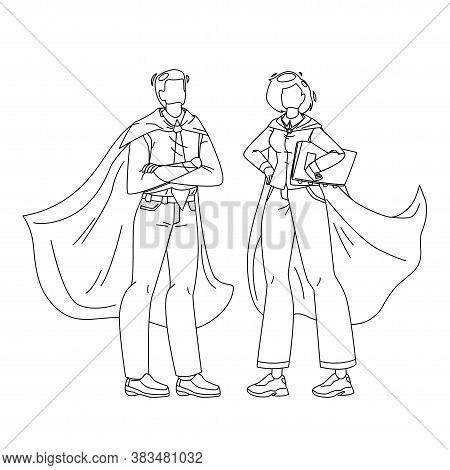 Bravery Superheroes Courage Man And Woman Vector