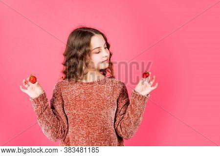 Eat Healthy. Girl Eating Fresh Natural Strawberry. Healthy Food. Health Care. Healthy Breakfast. Vit