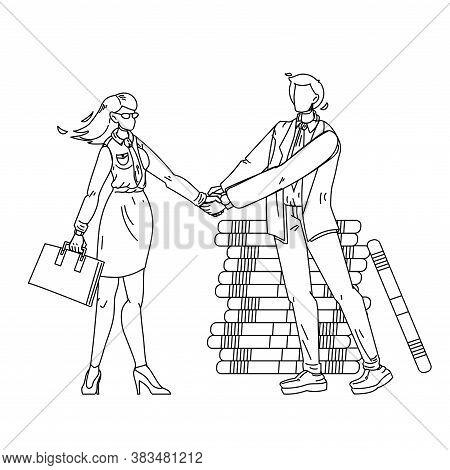 Businessman Shake Hand Woman B2b Characters Vector