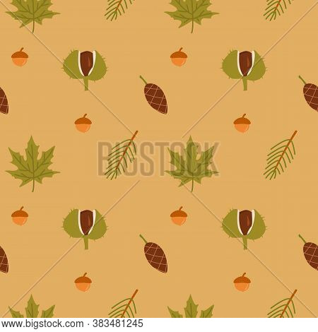 Autumn Forest Vector Seamless Pattern. Seasonal Berries, Acorns, Chestnut, Fir Cone, Green Leaves Te