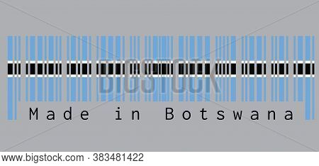 Barcode Set The Color Of Botswana Flag, Black Stripe With A Thin White Frame On Light Blue And Text: