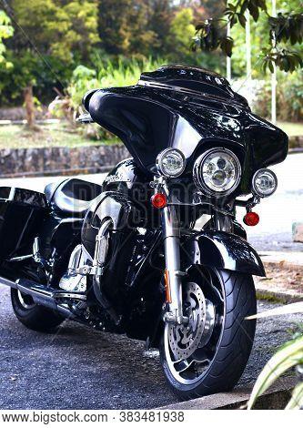 Genting Highland, Pahang, Malaysia - August 15, 2020 :  Harley Davidson Motorcycle Park At A Road Si