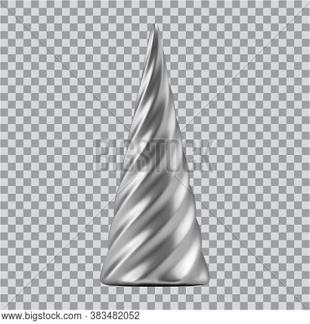 Realistic Silver Christmas Abstract Fir Tree In The Form Of A Spiral. 3d Illustration Object For Chr