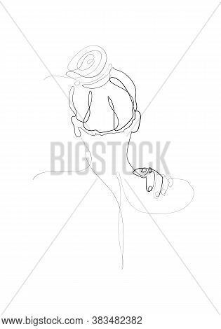 Continuous Line Naked Woman Or One Line Drawing On White Isolated Background.