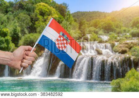 Waterfalls In Krka National Park In Croatia At Summer.
