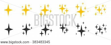 Balck And Yellow Flat Sparkles Symbols Icon Set. Silhouette Of Glitter Bright Different Shape, Burst