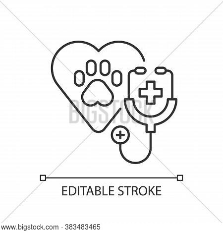 Veterinary Care Linear Icon. Professional Vet Clinic, Medical Service, Animals Treatment Thin Line C