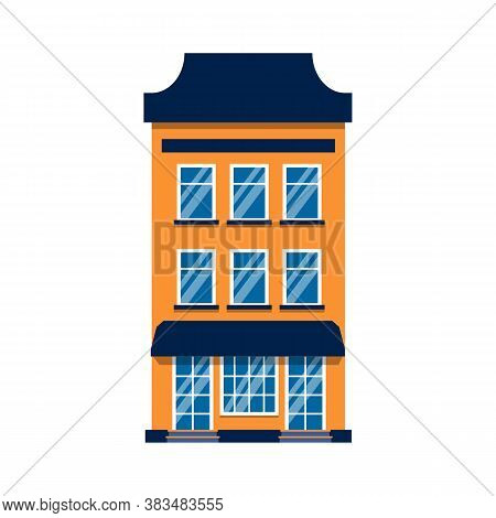 Cartoon House Colorful Architecture Amsterdam Single. Closeup Graphic Icon Townhouse, European Style