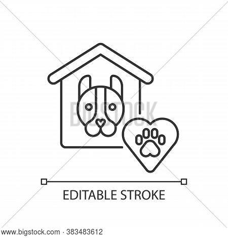 Animal Shelter Linear Icon. Abandoned Dog Adoption Center. Pet Welfare, Nursery Thin Line Customizab