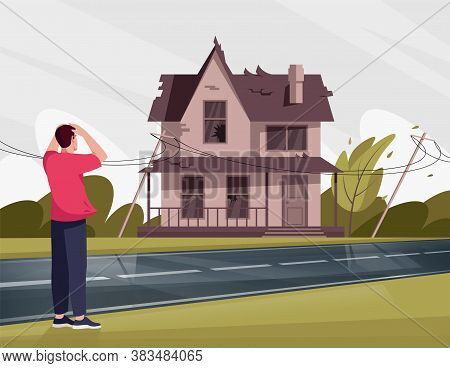 Man Shocked By Shabby House With Broken Windows Semi Flat Vector Illustration. Unsightly Abandoned T