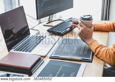 Young Professional Programmer Working At Developing Programming And Website Working In A Software De