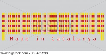 Barcode Set The Color Of Catalonia Flag, The Red Stripe On Golden Background On Grey Background, Tex