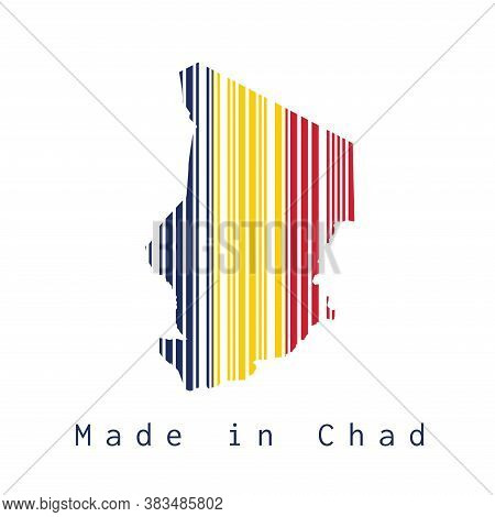 Barcode Set The Shape To Chad Map Outline And Flag Color On White Background, Text: Made In Chad. Co