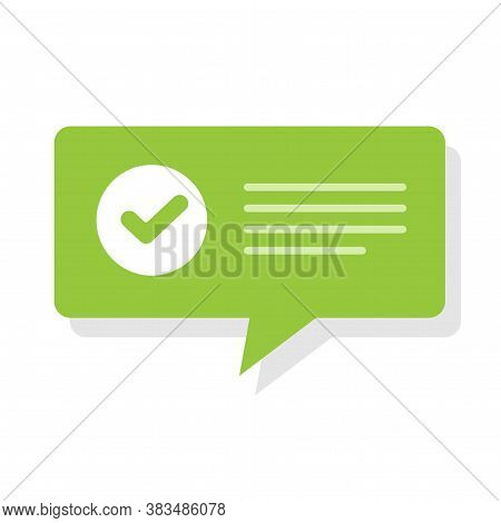 Confirm Notice Accept Message With Check Mark Vector Speech Bubble, Verified Checkmark Approved Noti