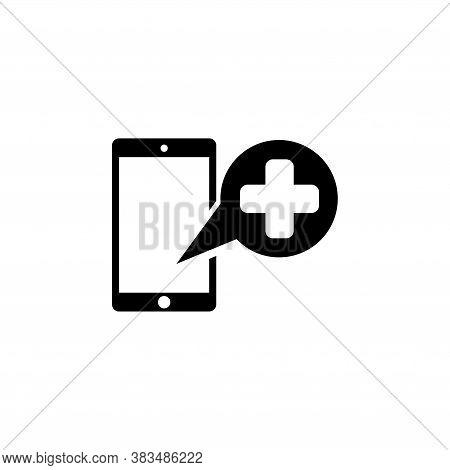 Medical Help Cell Phone, Emergency Call. Flat Vector Icon Illustration. Simple Black Symbol On White