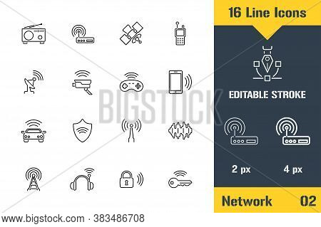 Internet Of Things, Network, Iot. Thin Line Icon - Outline Flat Vector Illustration. Editable Stroke
