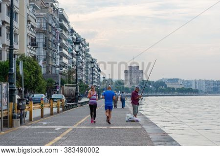 Thessaloniki, Greece - September 12, 2016: Cityscape With Thessaloniki Seafront Promenade, Central M