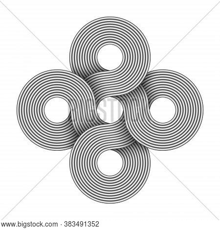Cross Sign Made Of Four Connected Rings Composed Of Interwoven Metal Wires. Modern Stylization Of Bo