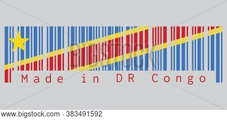Barcode Set The Color Of Dr Congo Flag, Sky Blue Field With Diagonally Red And Yellow Stripe And Sta
