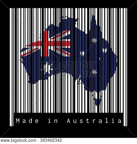 Barcode Set The Shape To Australia Map Outline On The White Barcode With Black Background, Text: Mad