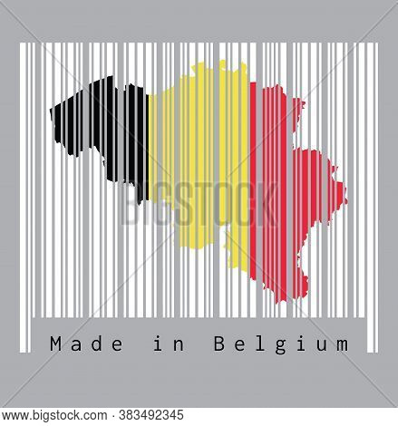 Barcode Set The Shape To Belgium Map Outline And Flag Color On The White Barcode With Grey Backgroun