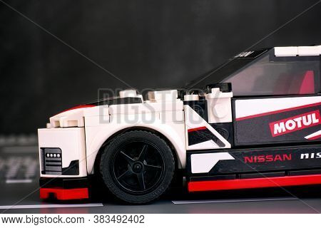 Tambov, Russian Federation - June 25, 2020 Close-up Of Lego Nissan Gt-r Nismo Car By Lego Speed Cham