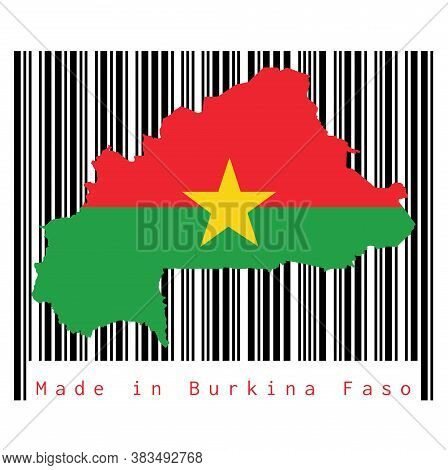 Map Outline And Flag Of Burkina Faso On Black Barcode With White Background, Text: Made In Burkina F