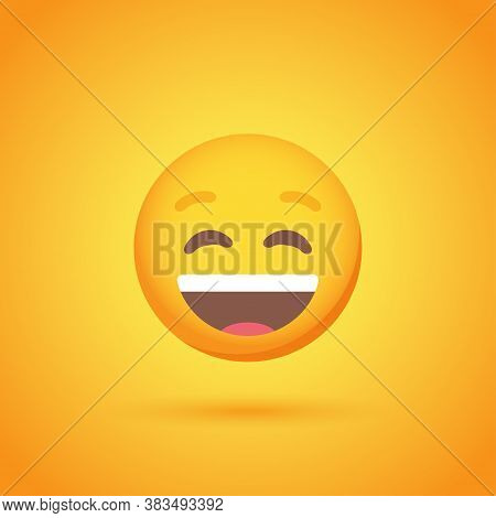 Laughter Emoticon Smile Icon With Shadow For Social Network Design