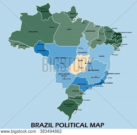 Brazil Political Map Divide By State Colorful Outline Simplicity Style. Vector Illustration.