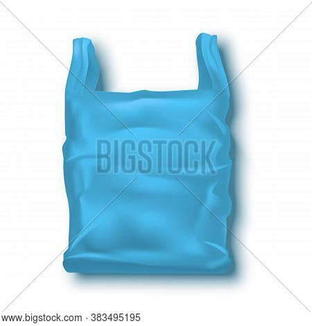 Realistic Detailed 3d Blue Blank Disposable Plastic Bag Empty Template Mockup. Vector Illustration O