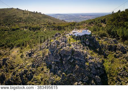 Aerial Drone View Of Ermida Da Nossa Senhora Da Penha In Serra De Sao Mamede Mountain In Castelo De