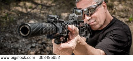 Front View Gun Point Of Rifle Machine Gun. Firearm Shooting And Tactical Weapons Training. Outdoor S
