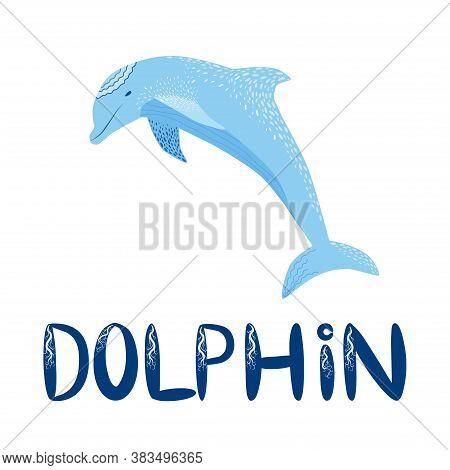 Cute Colorful Childish Cartoon Dolfin Isolated On A White Background. Underwater Creature Illustrati