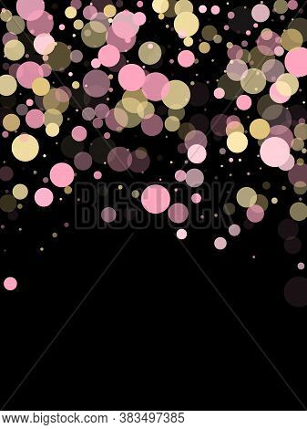 Pink Gold Confetti Circle Decoration For Christmas Poster Background. Bokeh Lights Effect Vector. Go