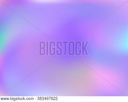 Hologram Effect Glitch Gradient Vector Design. Lucent Iridescent Mermaid Background. Hologram Colors