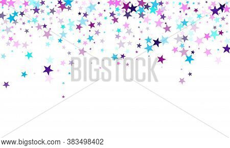 Flying Stars Confetti Holiday Vector In Cyan Blue Violet On White. Fireworks Elements Confetti. Cute