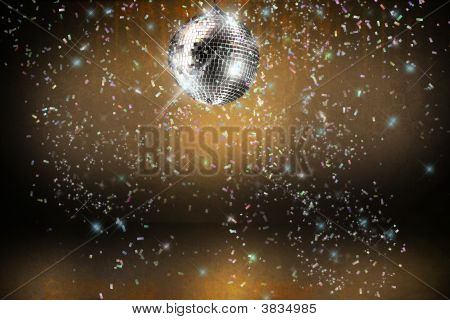 Disco Ball With Lights And Confetti Party Background