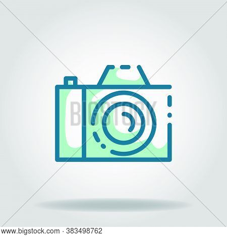 Logo Or Symbol Of Dslr Camera Icon With Twotone Blue Color Style
