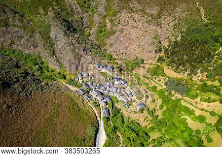 Aldeia Da Pena Drone Aerial Village In Arouca Serra Da Freita, Portugal