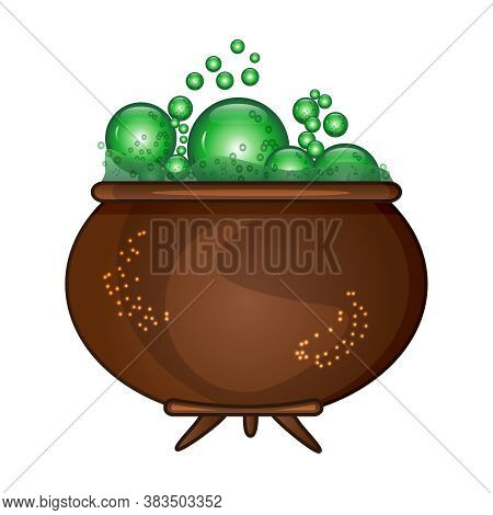 Halloween Witches Cauldron With Green Potion And Bubble Isolated On White Background. Brown Pot With