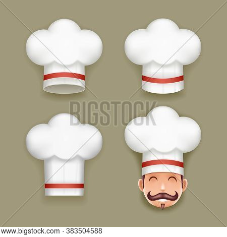 Chief Cook Toque Cuisine Realistic Hat Design Template Vector Illustration