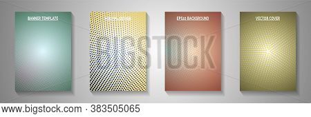 Tech Circle Screen Tone Gradation Cover Templates Vector Collection. Industrial Magazine Faded Scree