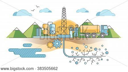 Hydraulic Fracturing As Oil And Gas Extraction Technique Outline Concept. Underground Pipe Drilling