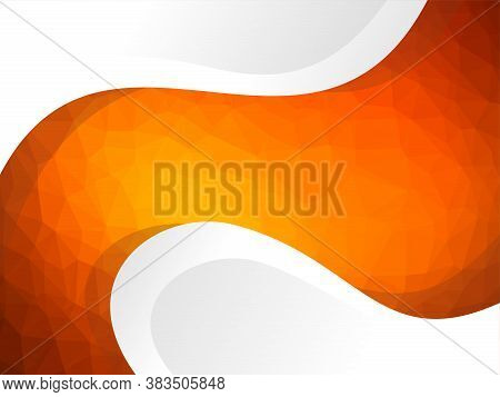 Abstract Polygonal Background With White Wavy Elements - Vector Template
